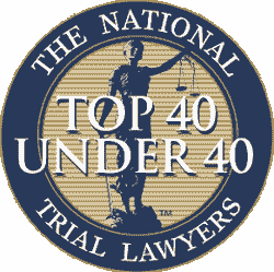 A national top 40 under 40 trial lawyers badge